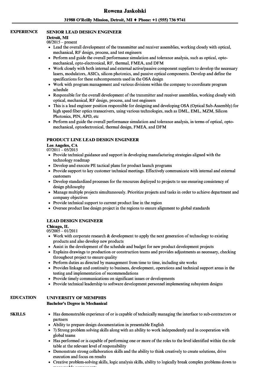 download lead design engineer resume sample as image file