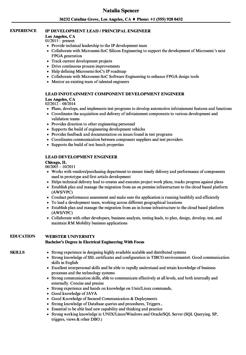 Lead Development Engineer Resume Samples | Velvet Jobs