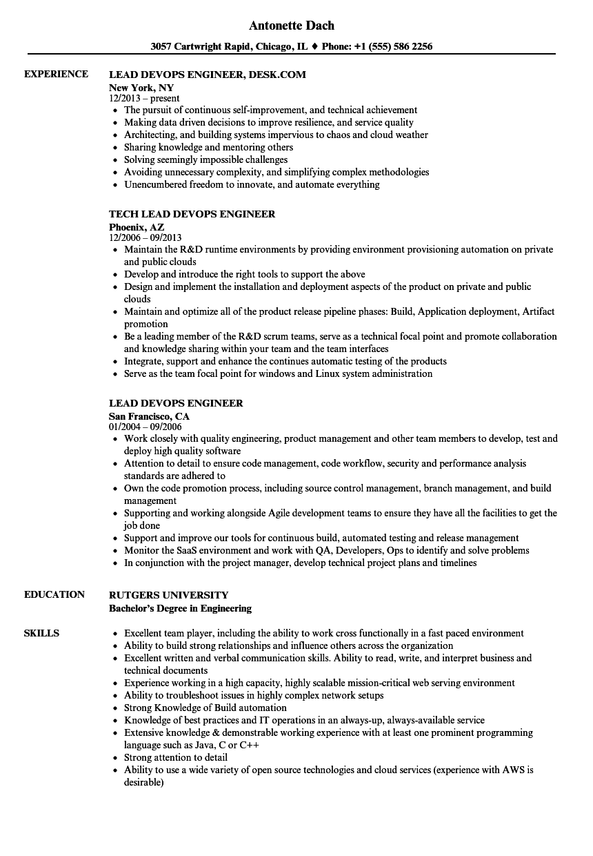 Lead Devops Engineer Resume Samples | Velvet Jobs