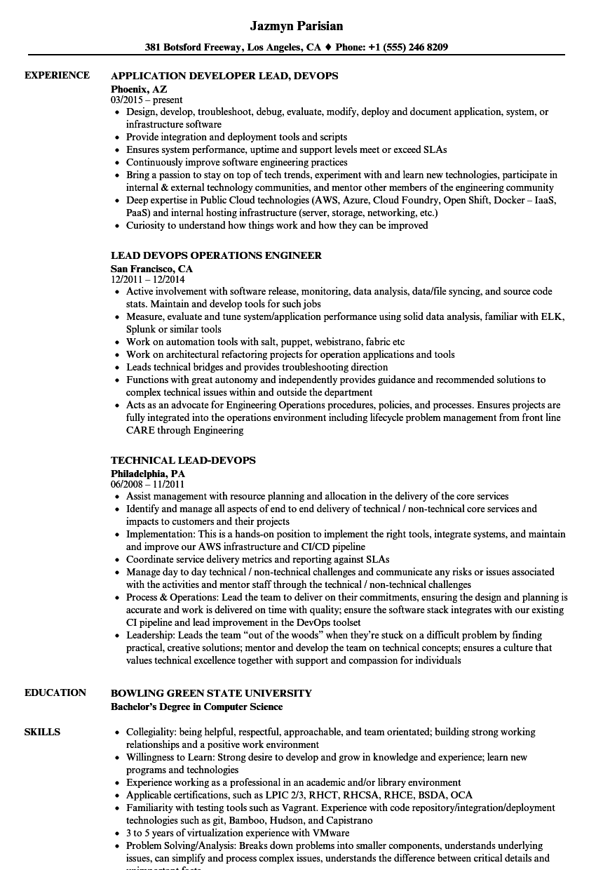 Lead Devops Resume Samples Velvet Jobs