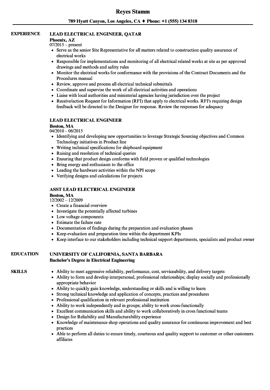 Lead Electrical Engineer Resume Samples | Velvet Jobs