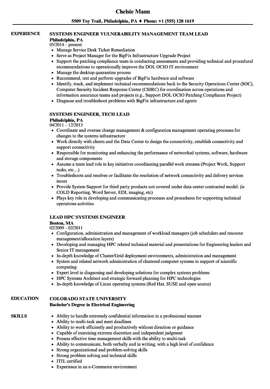 lead engineer    systems engineer resume samples