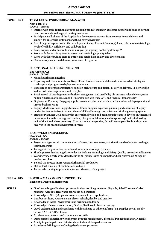 lead engineering resume samples