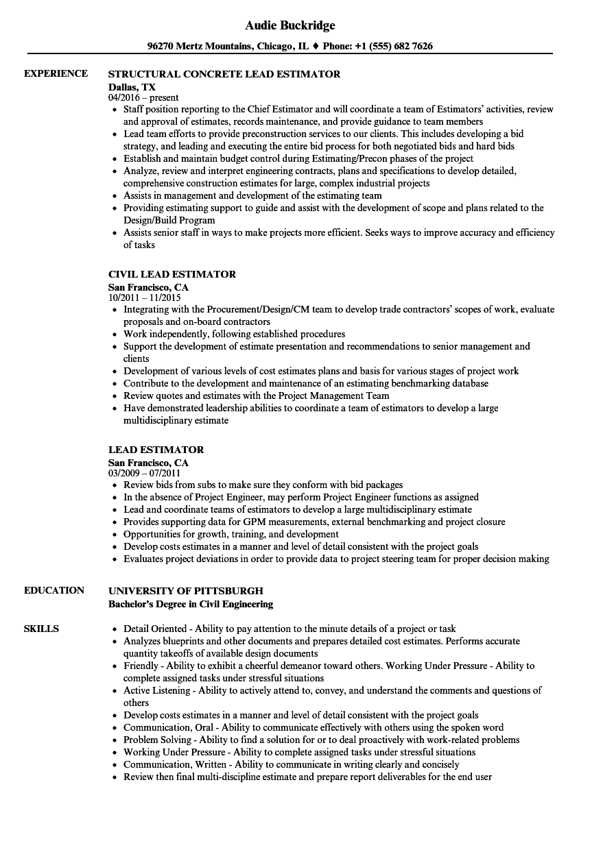 lead estimator resume samples
