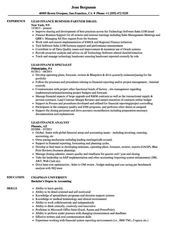 lead finance resume samples velvet jobs