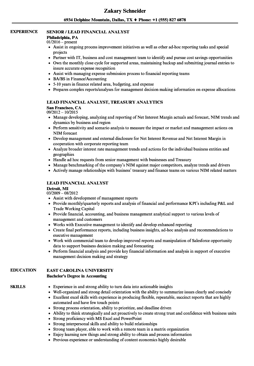lead financial analyst resume samples