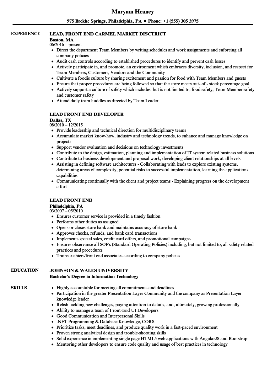 Download Lead Front End Resume Sample As Image File
