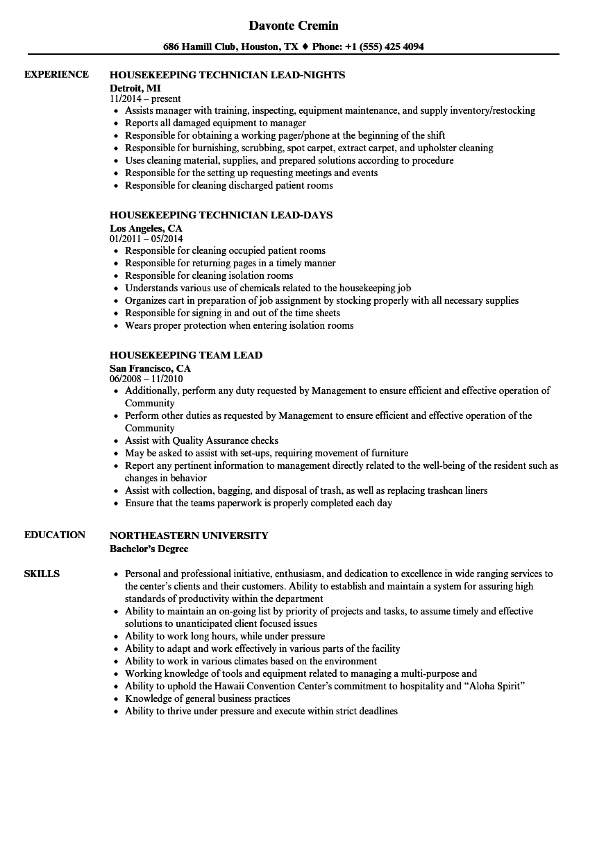 Lead, Housekeeping Resume Samples | Velvet Jobs