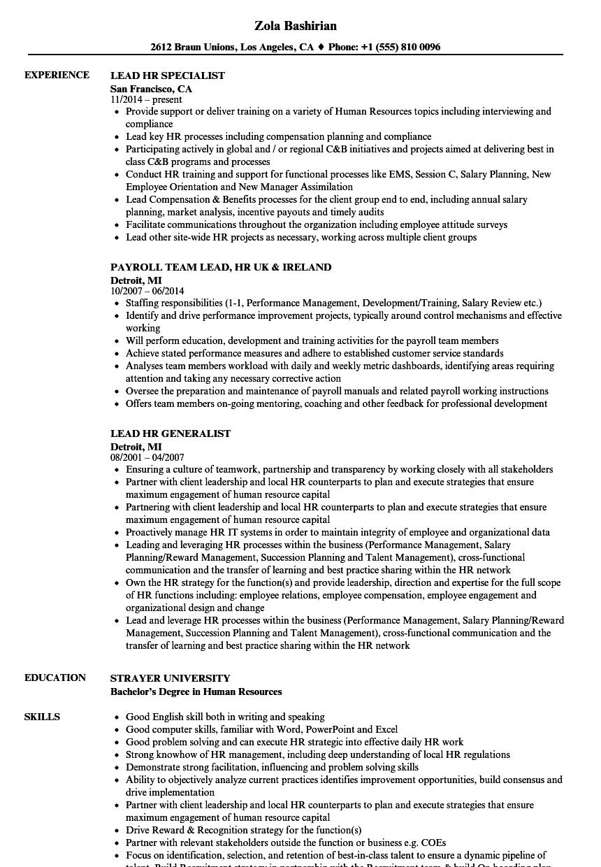 Lead-HR Resume Samples | Velvet Jobs