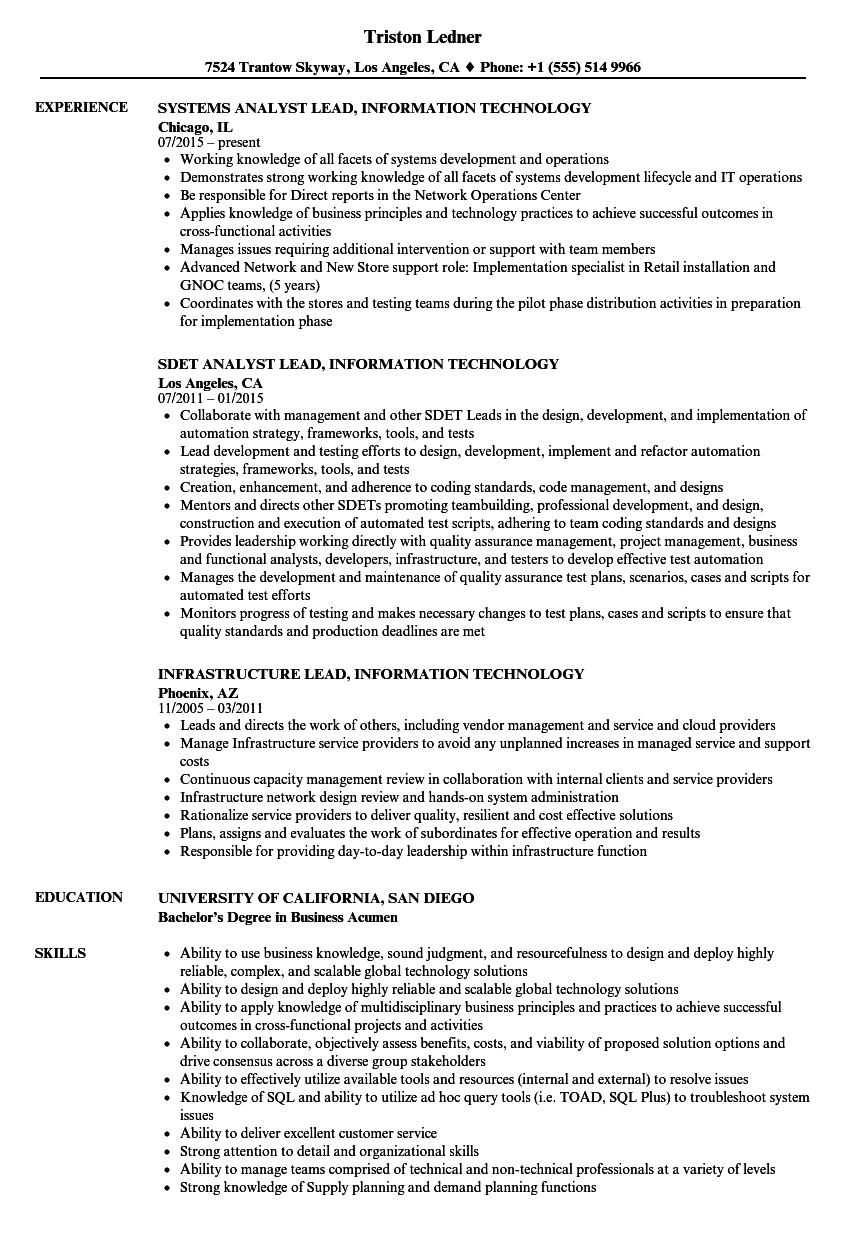 lead information technology resume samples