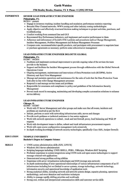 lead infrastructure engineer resume samples