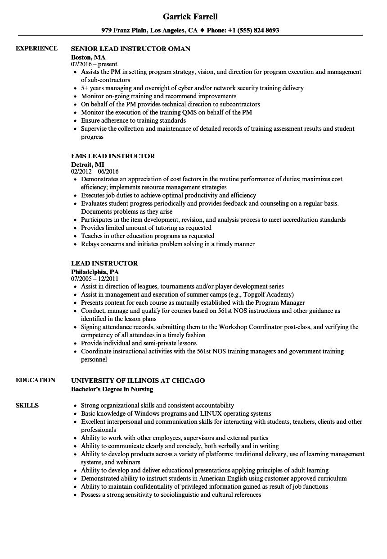 lead instructor resume samples  velvet jobs