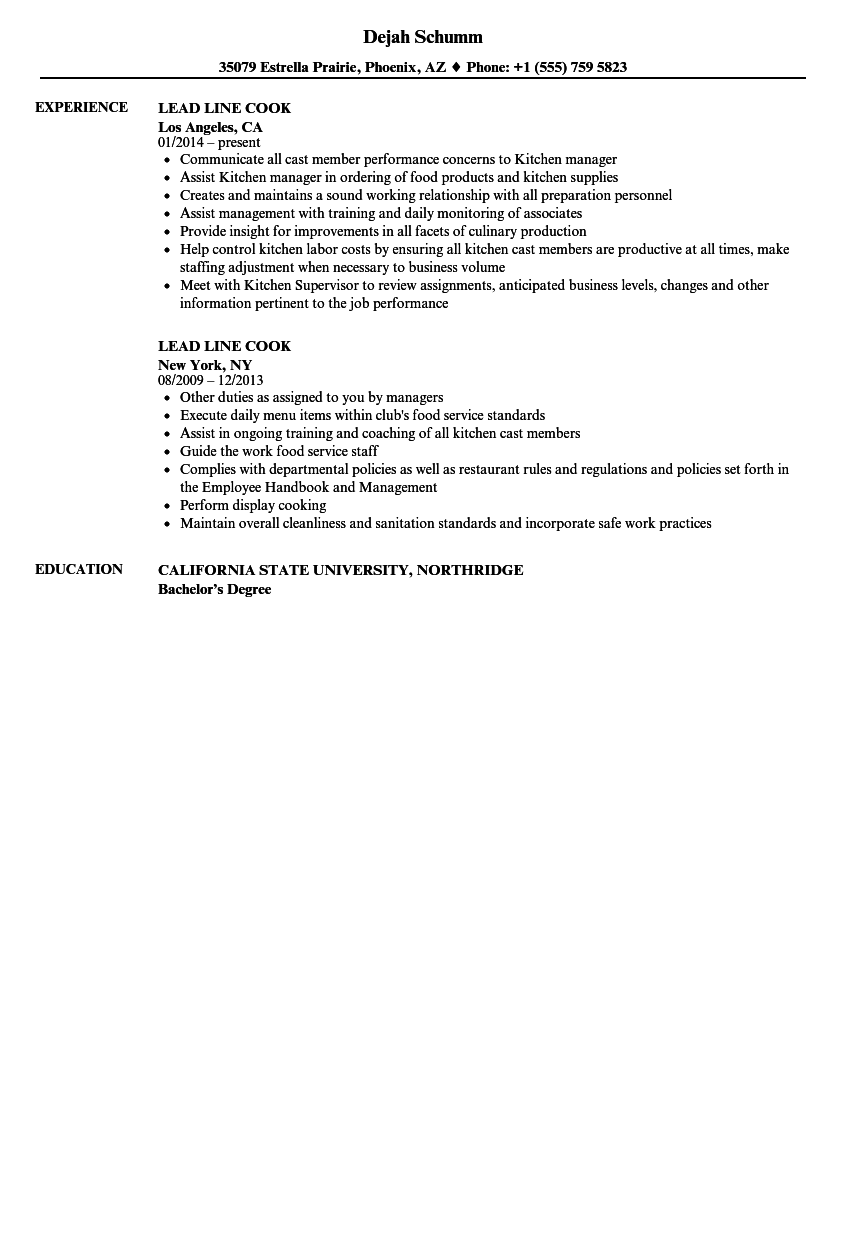 Lead Line Cook Resume Samples Velvet Jobs