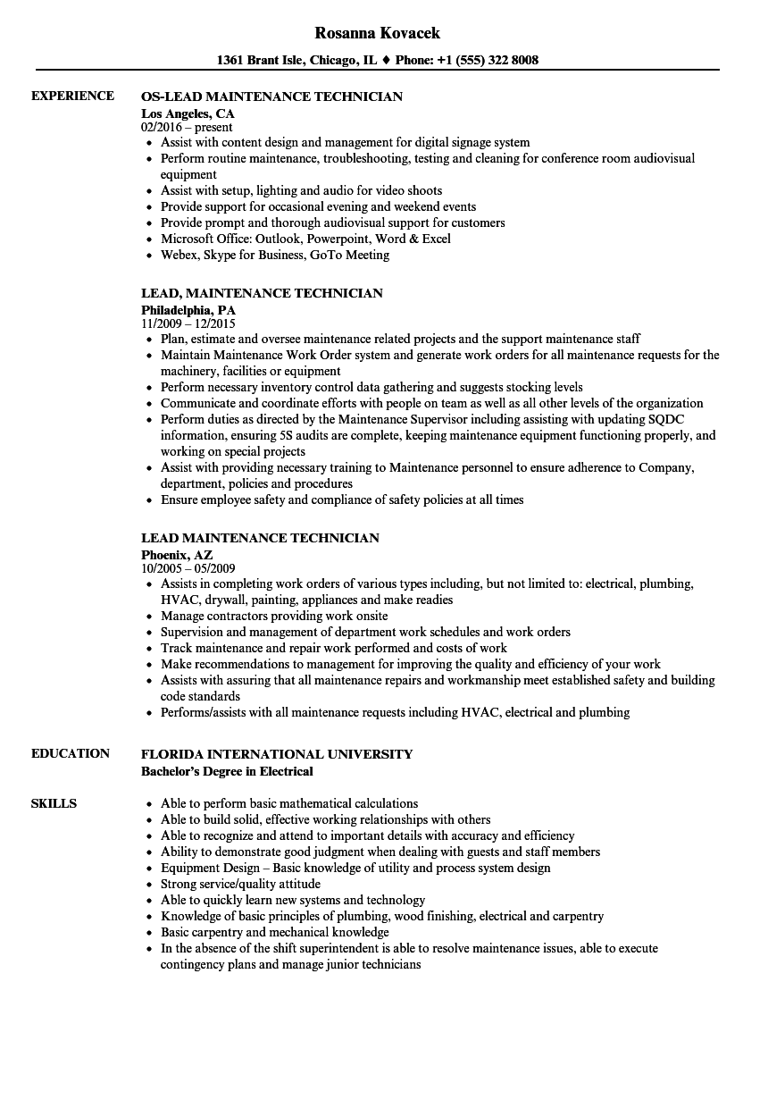 Download Lead Maintenance Technician Resume Sample As Image File