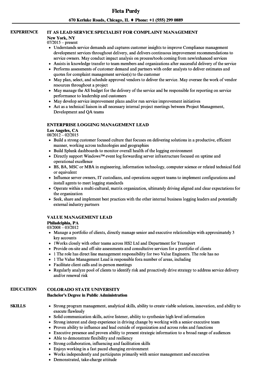 Lead Management Resume Samples | Velvet Jobs