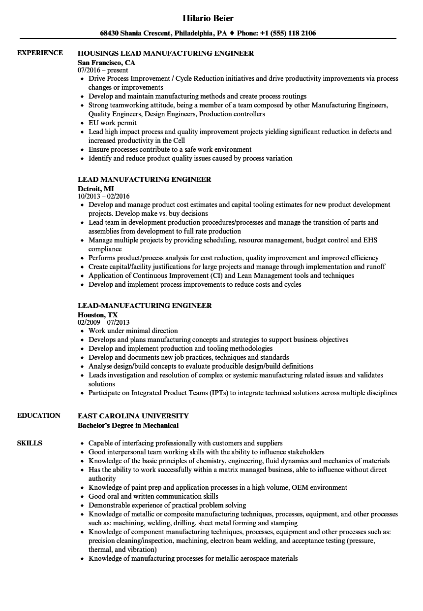 lead manufacturing engineer resume samples