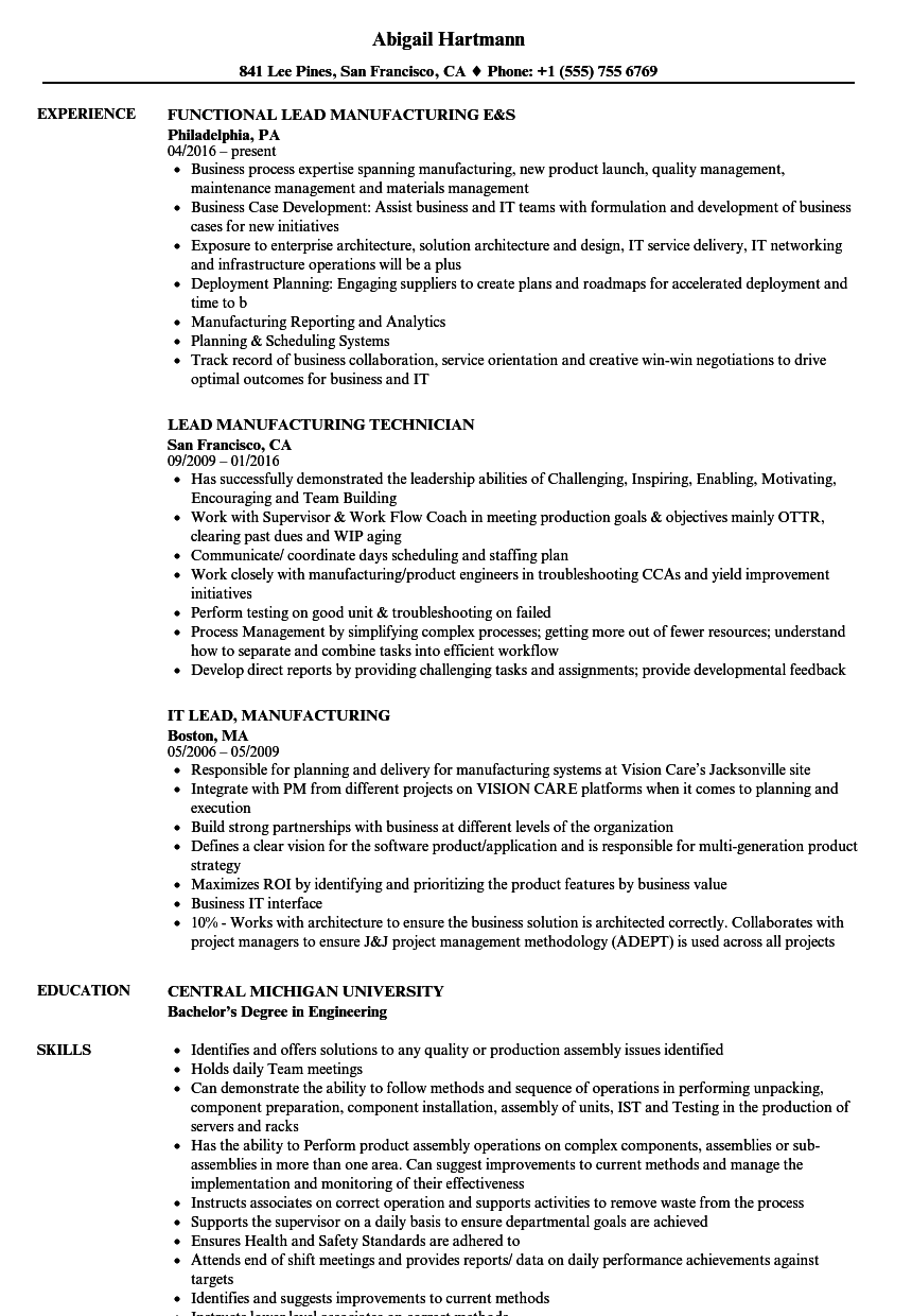 Lead Manufacturing Resume Samples Velvet Jobs
