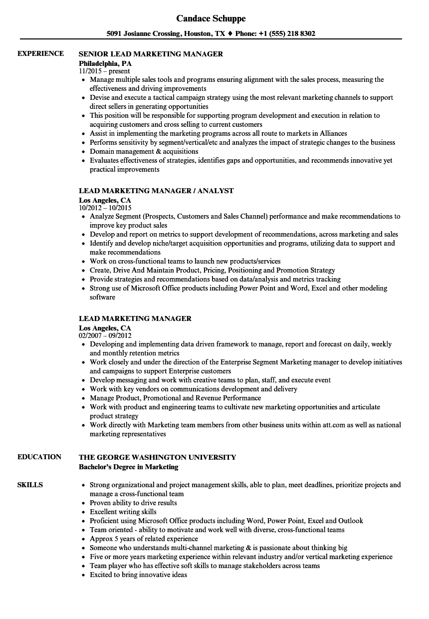 Lead Marketing Manager Resume Samples | Velvet Jobs