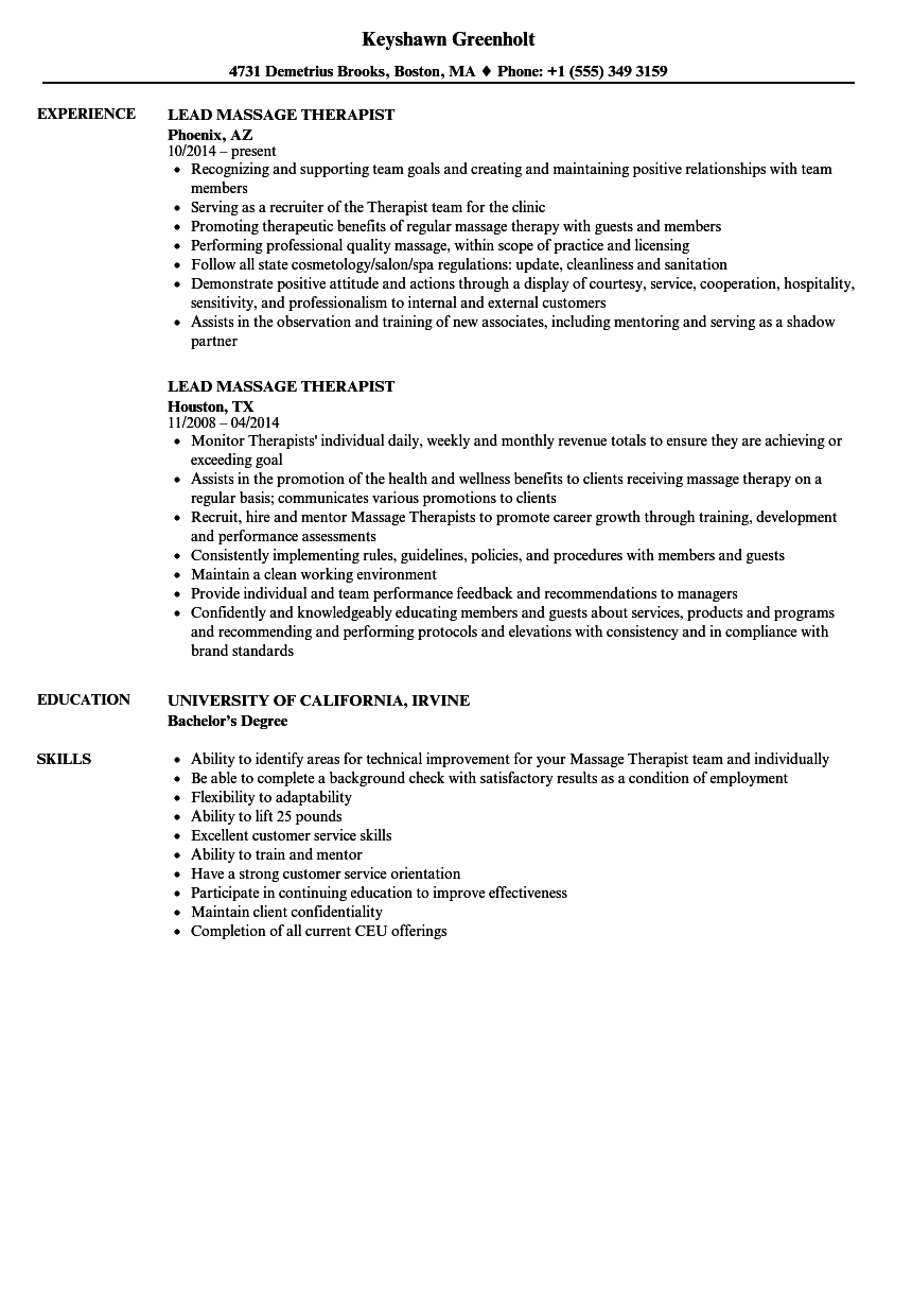 lead massage therapist resume samples velvet jobs
