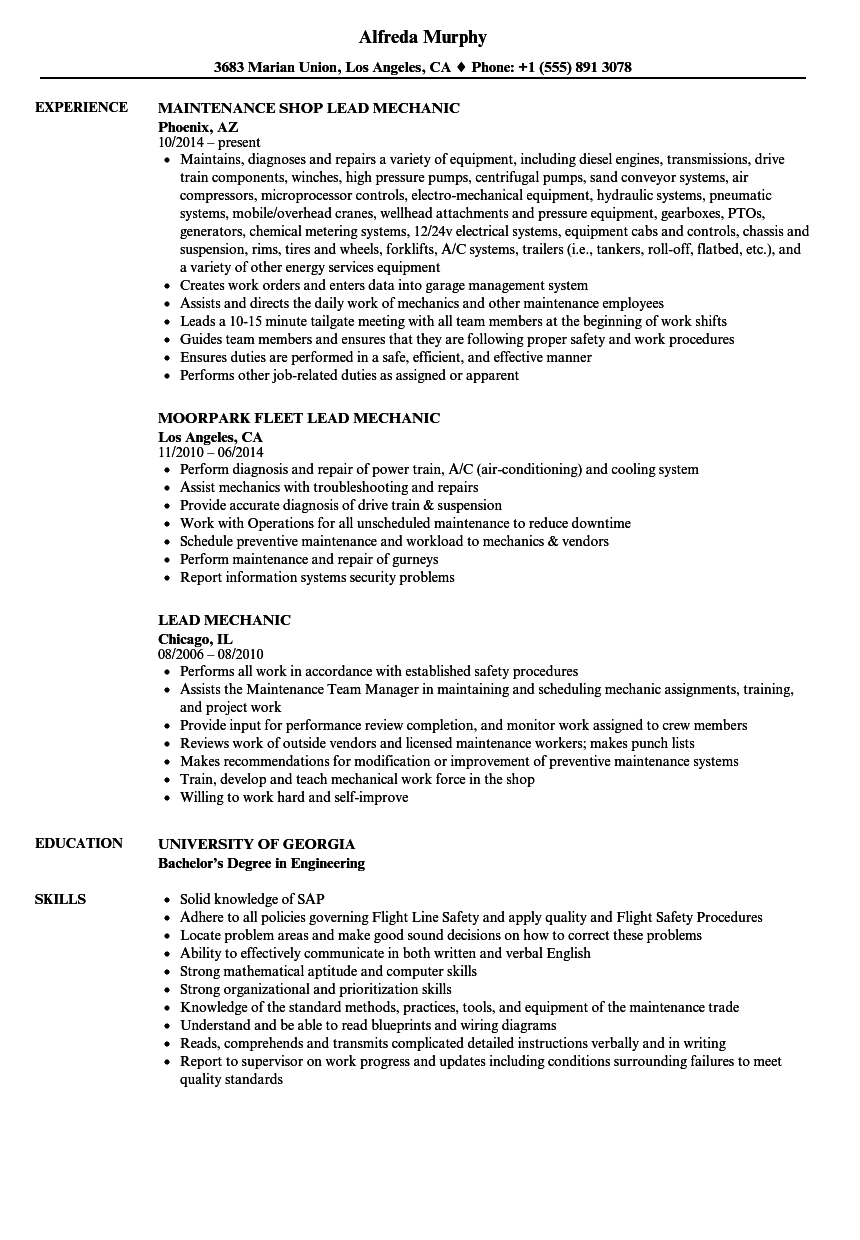 Lead Mechanic Resume Samples Velvet Jobs
