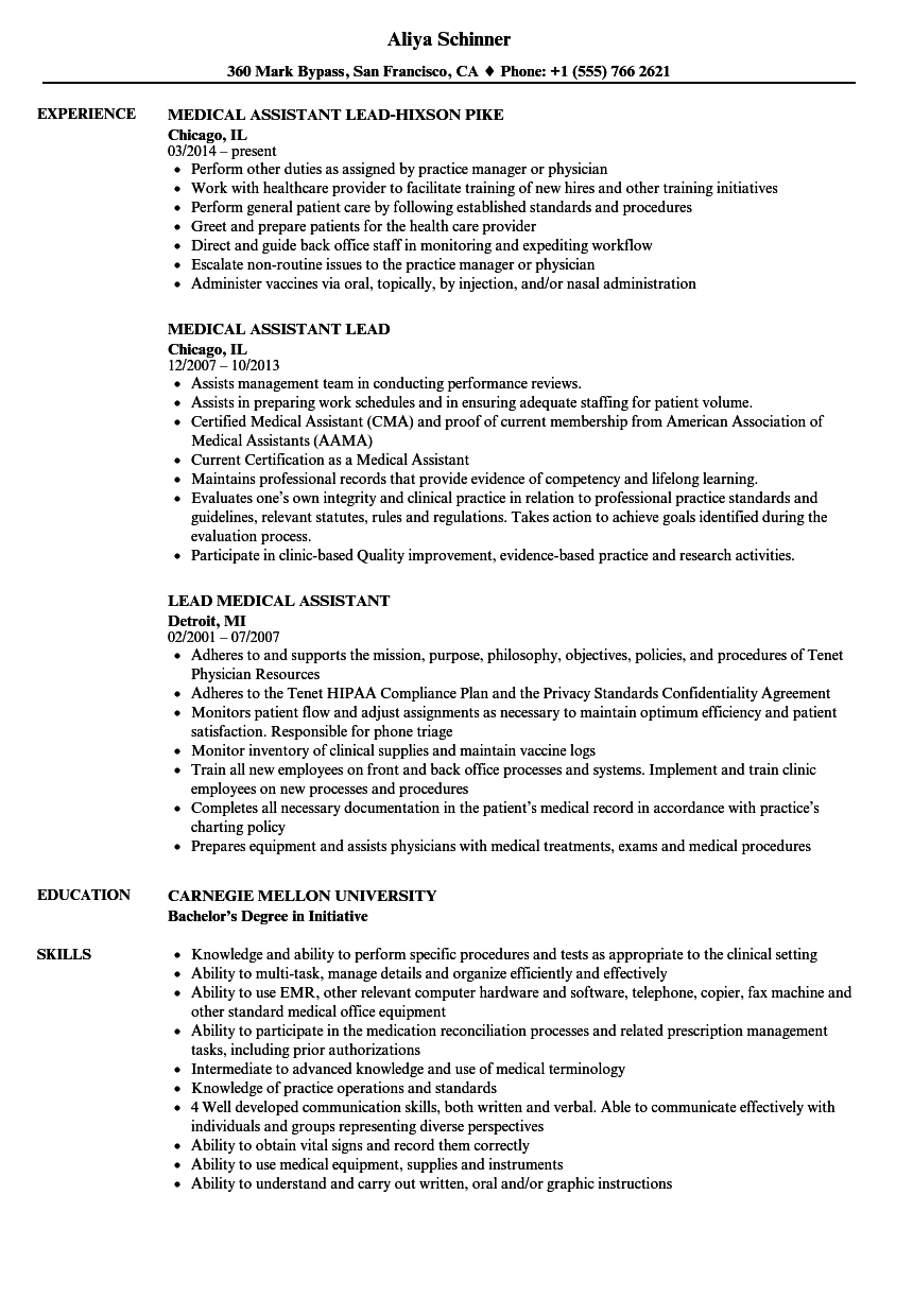 lead medical assistant resume samples velvet jobs