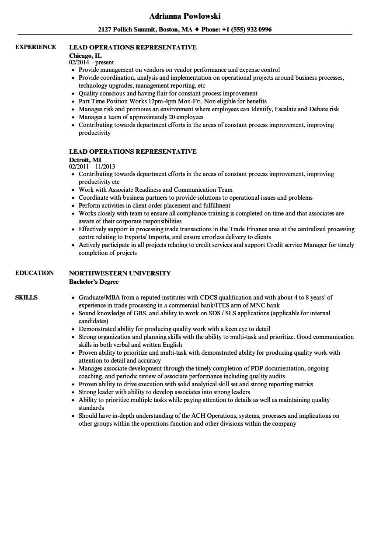 lead operations representative resume samples