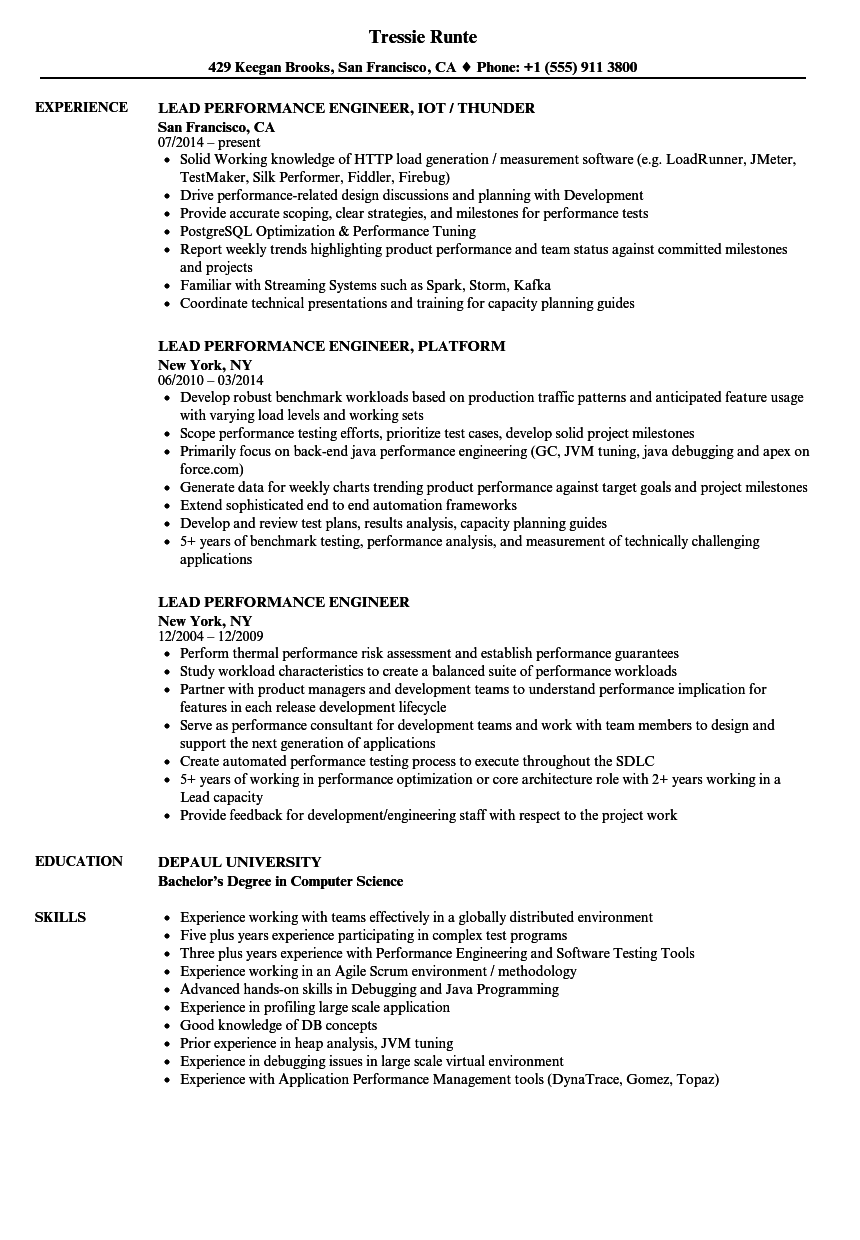 lead performance engineer resume samples