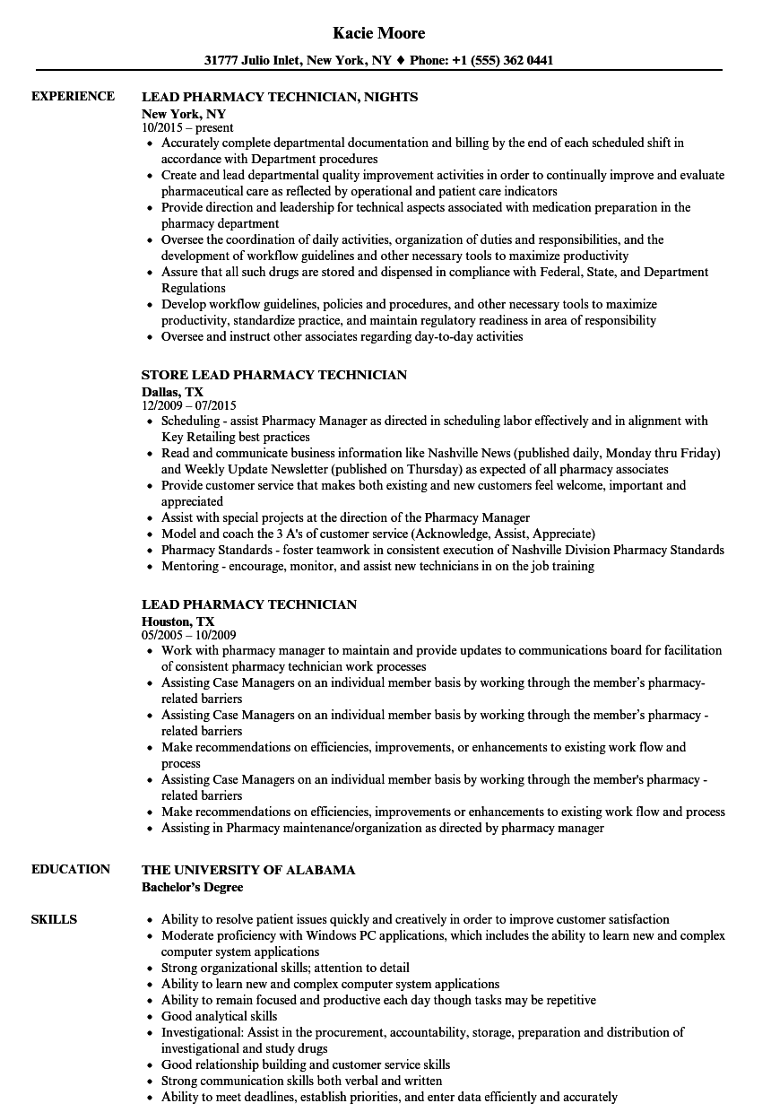 Lead Pharmacy Technician Resume Samples | Velvet Jobs