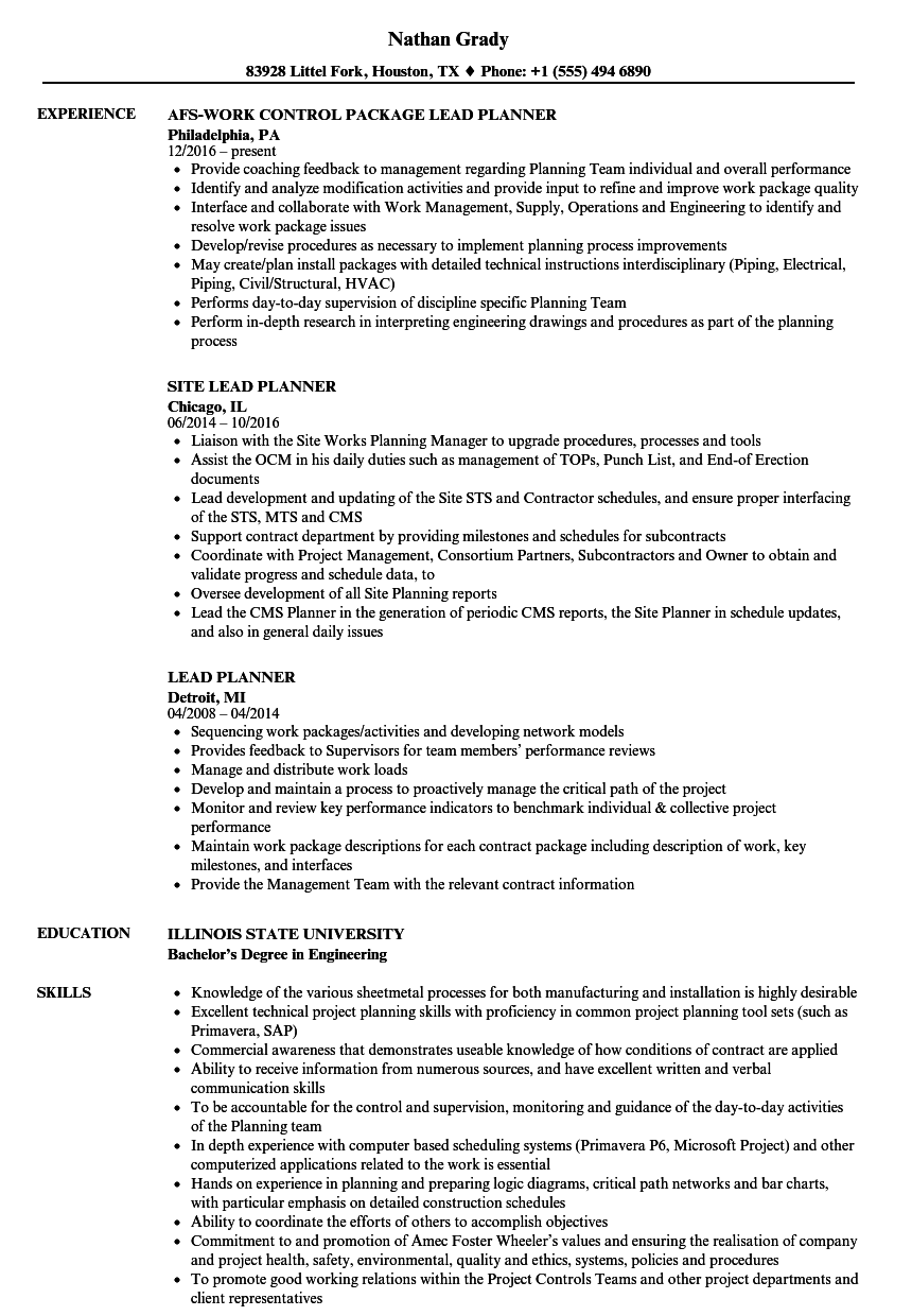 Lead Planner Resume Samples | Velvet Jobs