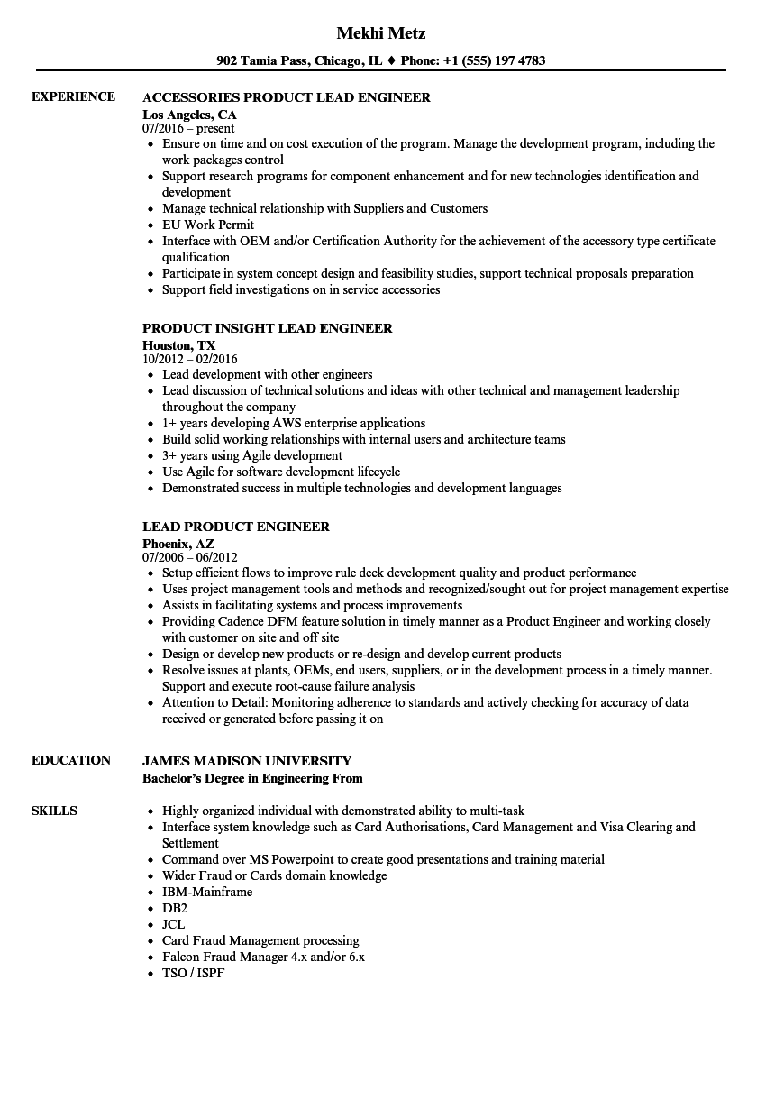 Lead Product Engineer Resume Samples | Velvet Jobs