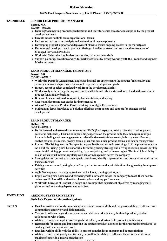 Lead Product Manager Resume Samples | Velvet Jobs