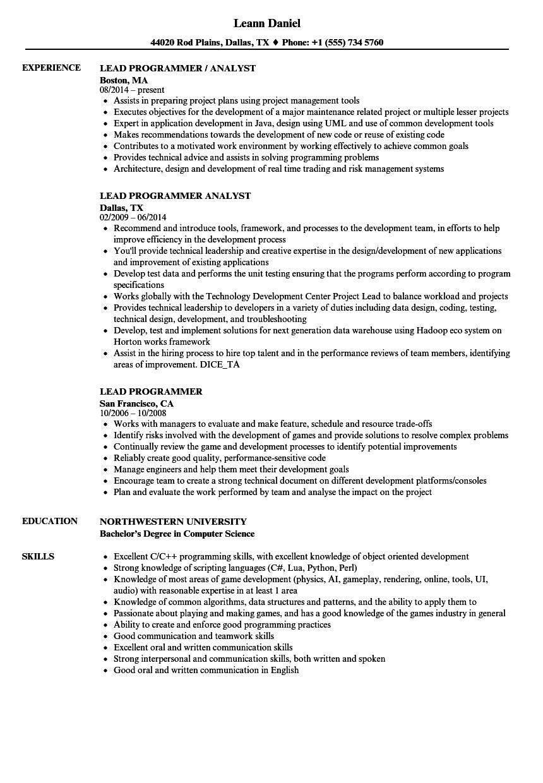 lead programmer resume samples