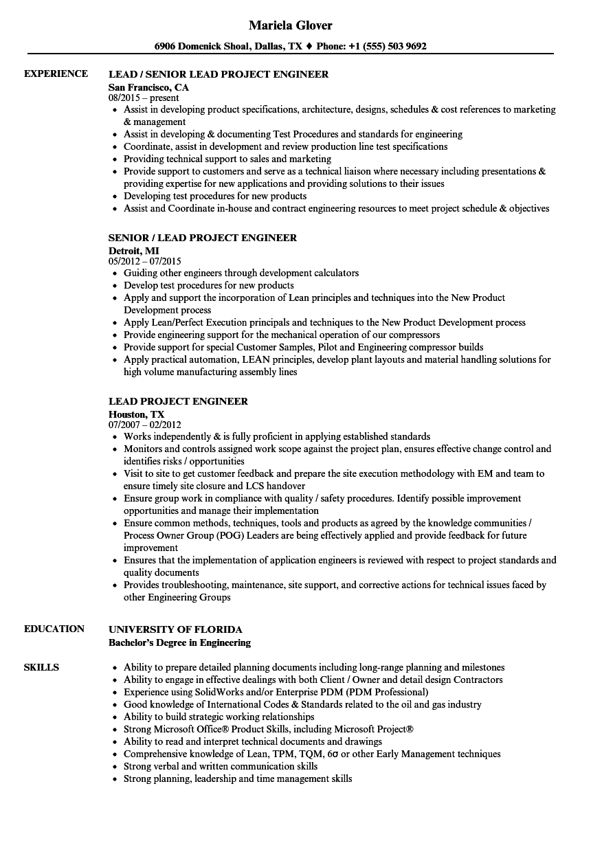 Lead Project Engineer Resume Samples Velvet Jobs