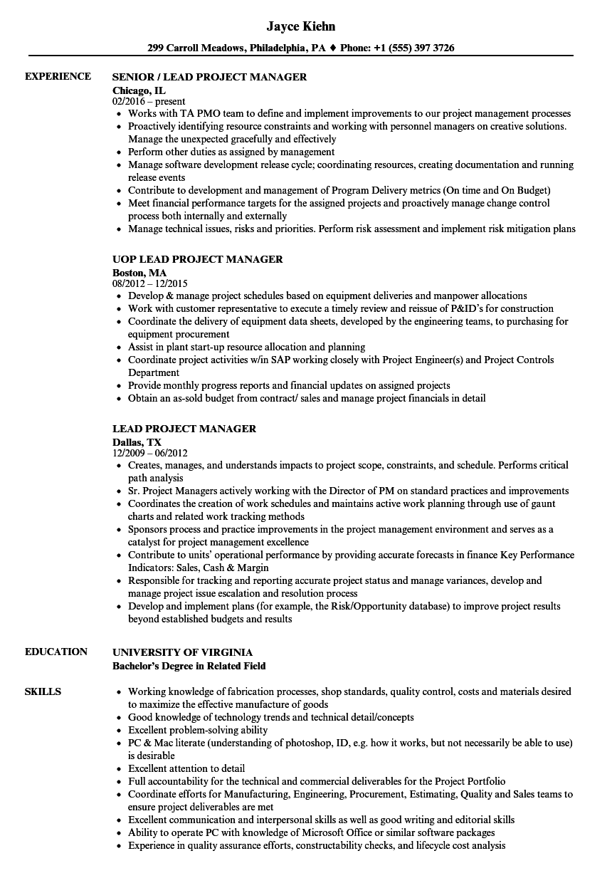lead project manager resume samples velvet jobs