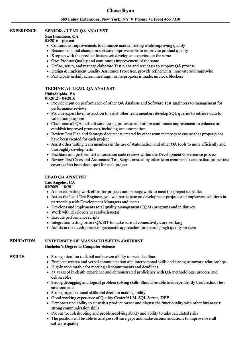Lead Qa Analyst Resume Samples Velvet Jobs