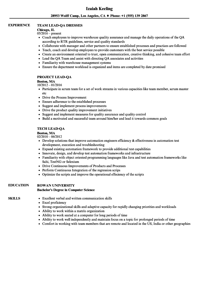 Lead QA Resume Samples Velvet Jobs
