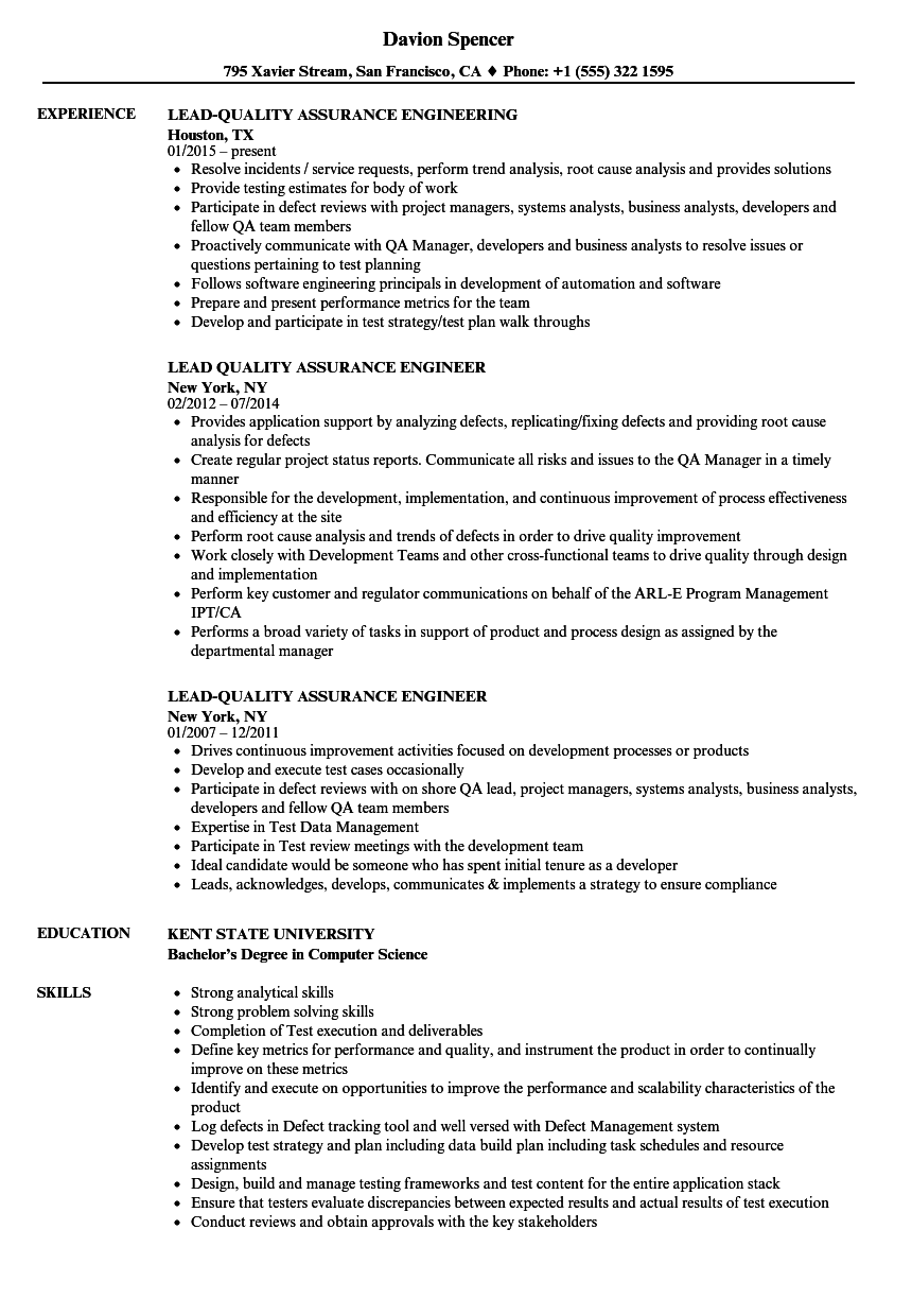 lead  quality assurance resume samples