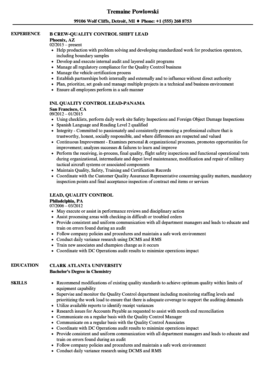 Lead, Quality Control Resume Samples | Velvet Jobs