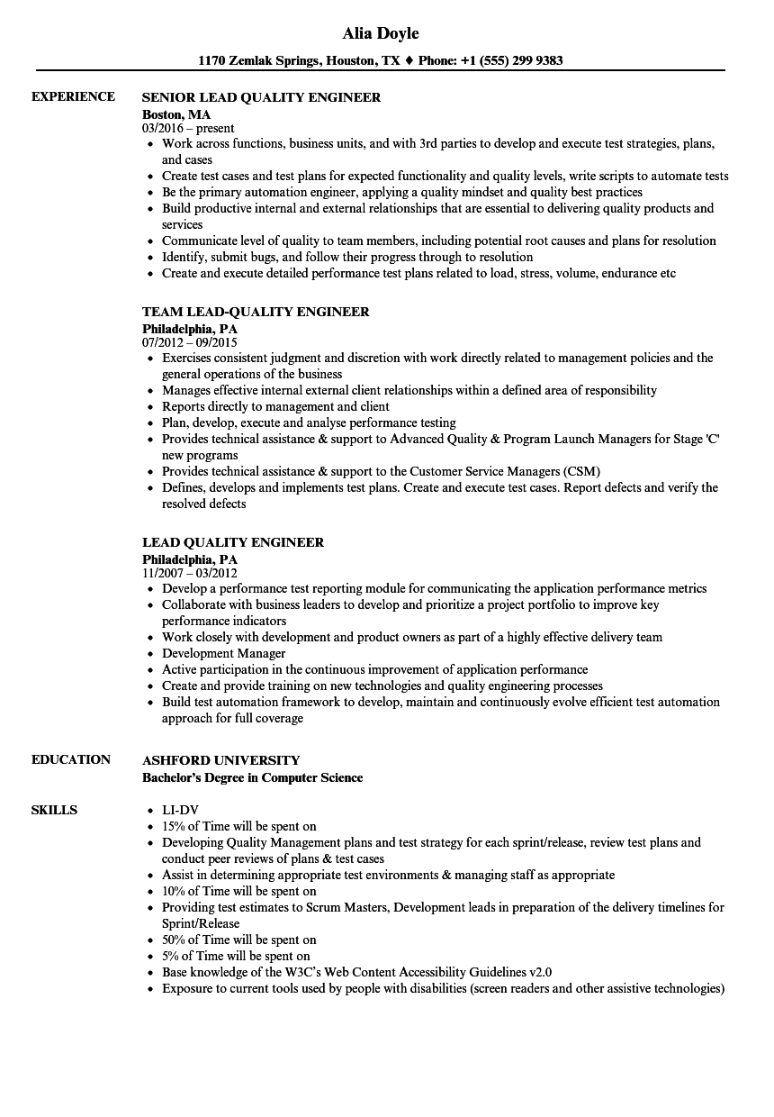 lead quality engineer resume samples