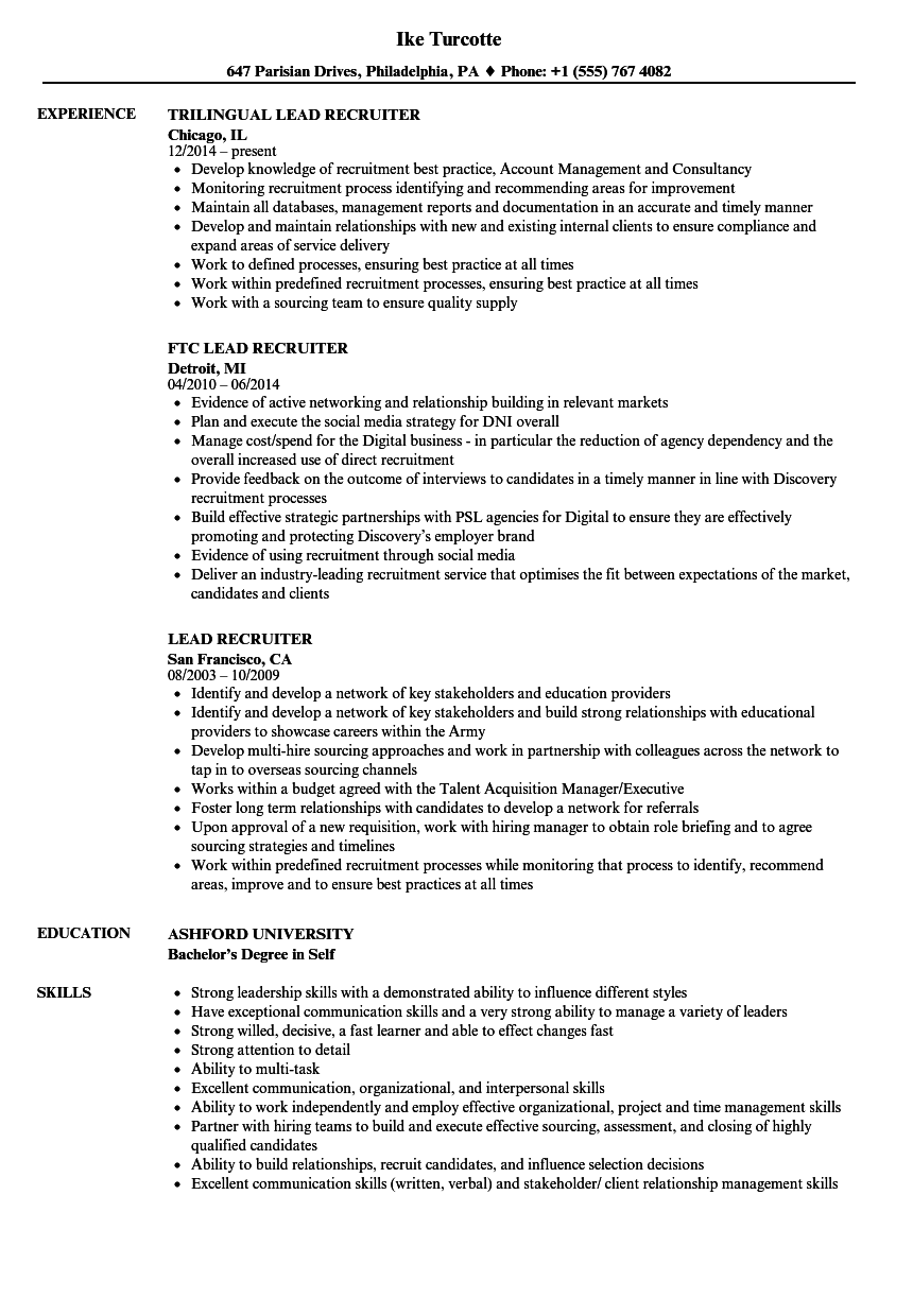 lead recruiter resume samples