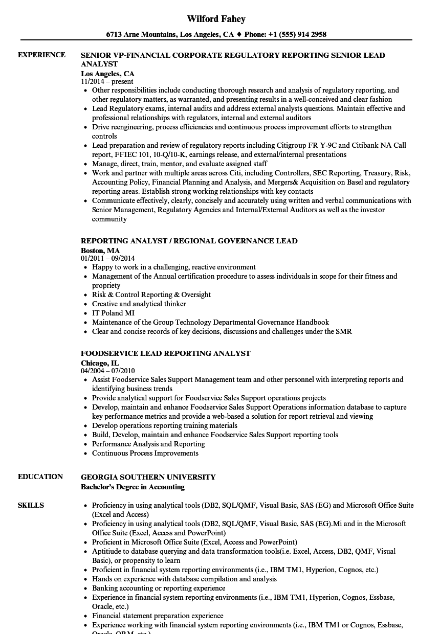 lead reporting analyst resume samples