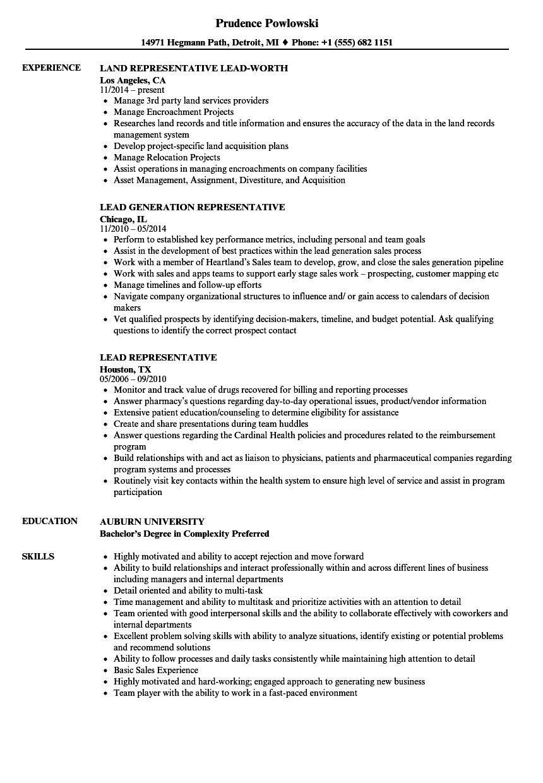 Lead Representative Resume Samples | Velvet Jobs