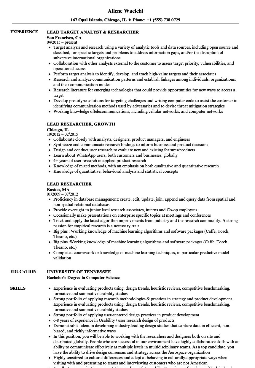 lead researcher resume samples