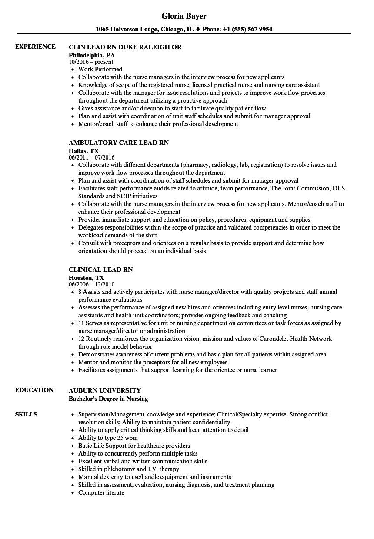 lead rn resume samples