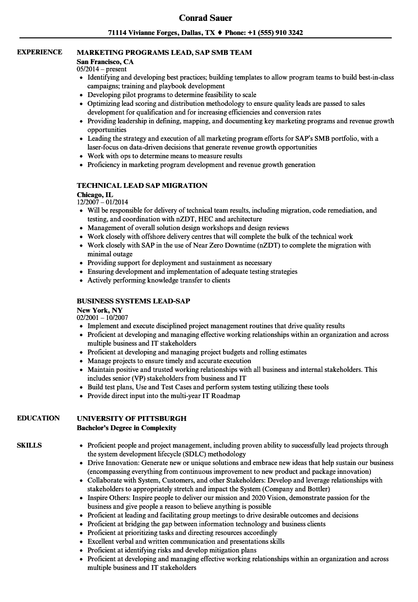 lead sap resume samples