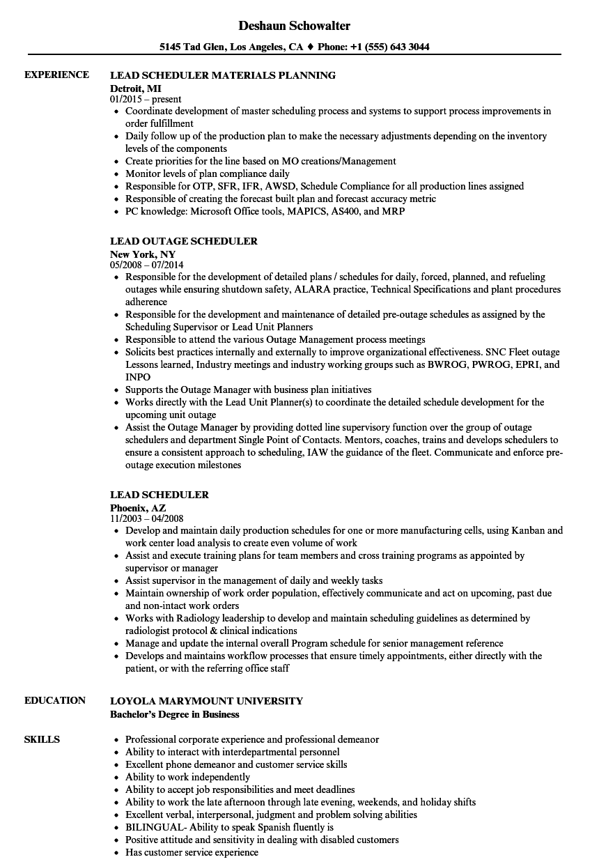 related job titles scheduler resume sample