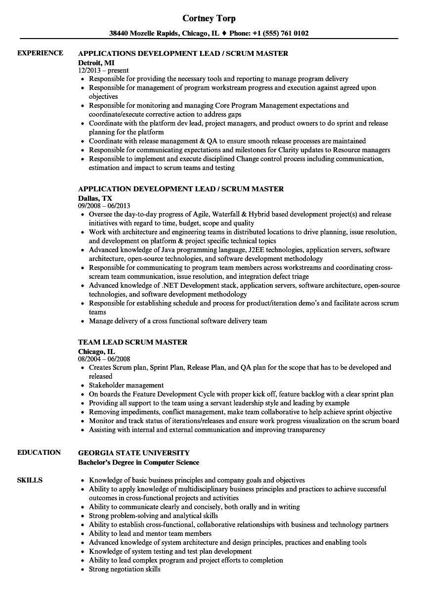 lead scrum master resume samples