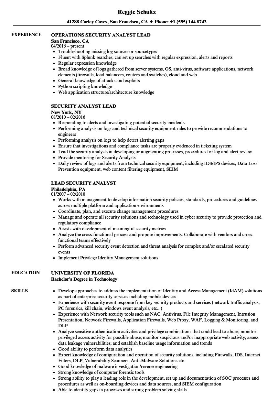 Lead Security Analyst Resume Samples | Velvet Jobs