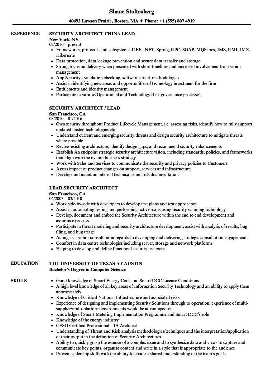 download lead security architect resume sample as image file - Application Architect Resume