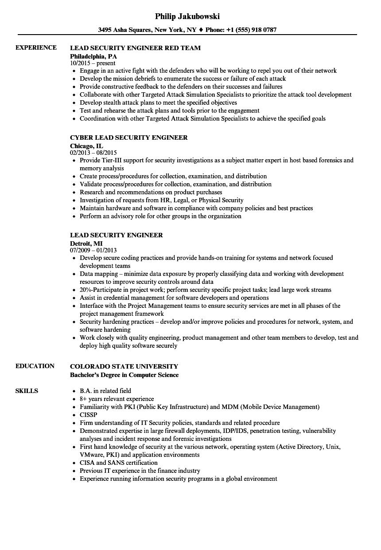 Lead Security Engineer Resume Samples | Velvet Jobs